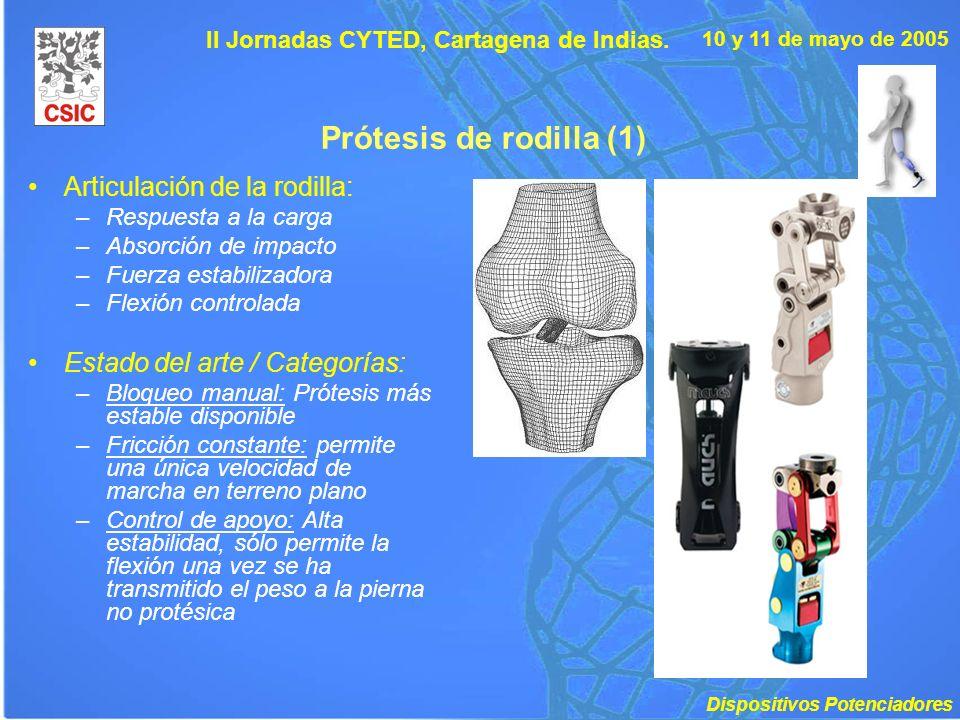 10 y 11 de mayo de 2005 II Jornadas CYTED, Cartagena de Indias. Prótesis de rodilla (1) Articulación de la rodilla: –Respuesta a la carga –Absorción d