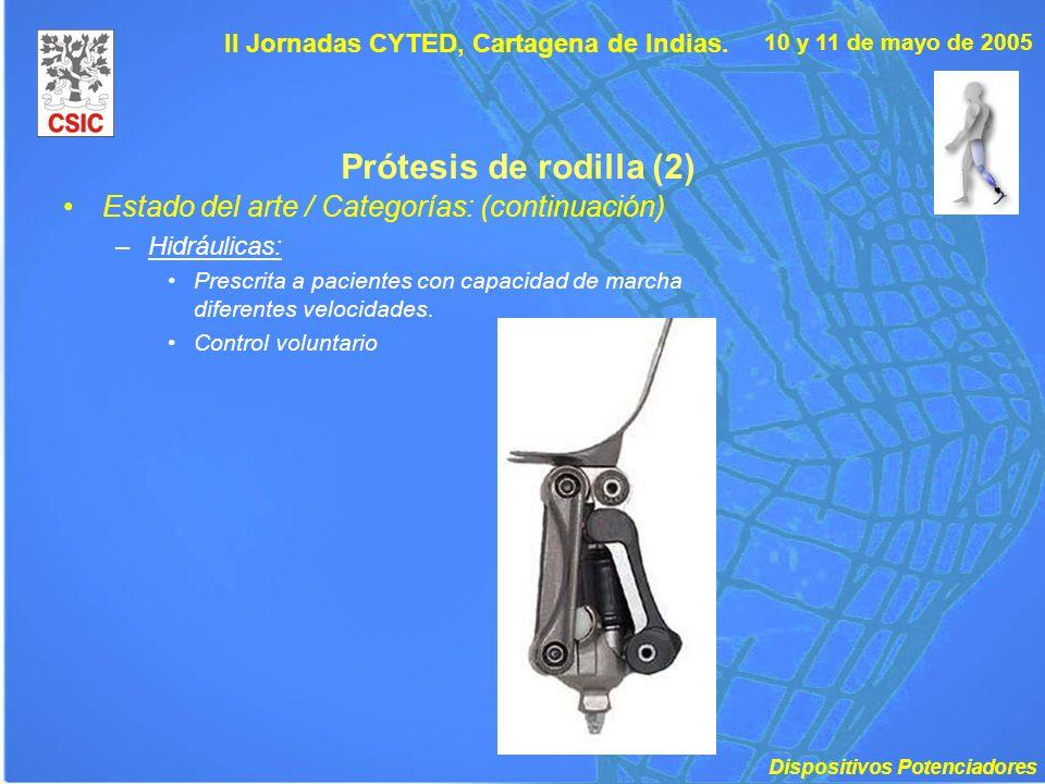 10 y 11 de mayo de 2005 II Jornadas CYTED, Cartagena de Indias. Prótesis de rodilla (2) Estado del arte / Categorías: (continuación) –Hidráulicas: Pre