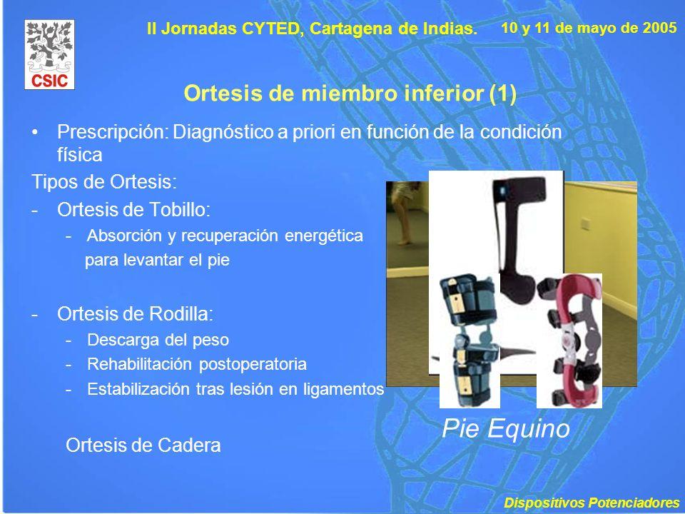 10 y 11 de mayo de 2005 II Jornadas CYTED, Cartagena de Indias. Ortesis de miembro inferior (1) Prescripción: Diagnóstico a priori en función de la co
