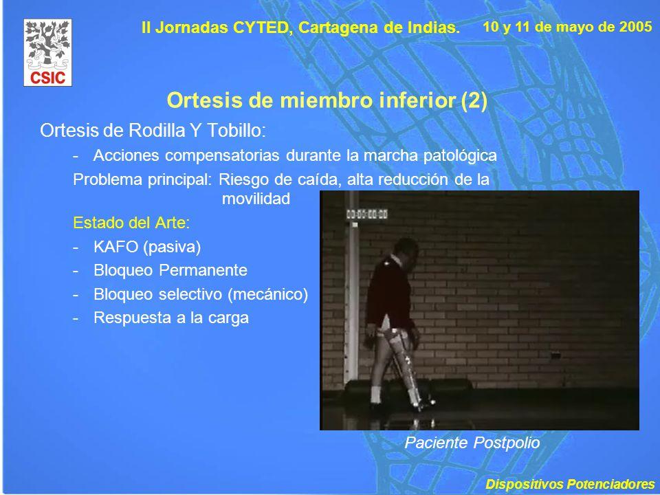 10 y 11 de mayo de 2005 II Jornadas CYTED, Cartagena de Indias. Ortesis de miembro inferior (2) Ortesis de Rodilla Y Tobillo: -Acciones compensatorias
