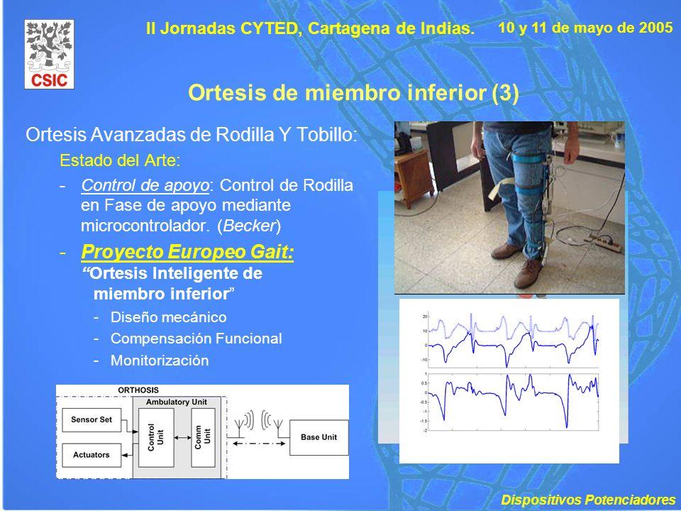 10 y 11 de mayo de 2005 II Jornadas CYTED, Cartagena de Indias. Ortesis de miembro inferior (3) Ortesis Avanzadas de Rodilla Y Tobillo: Estado del Art