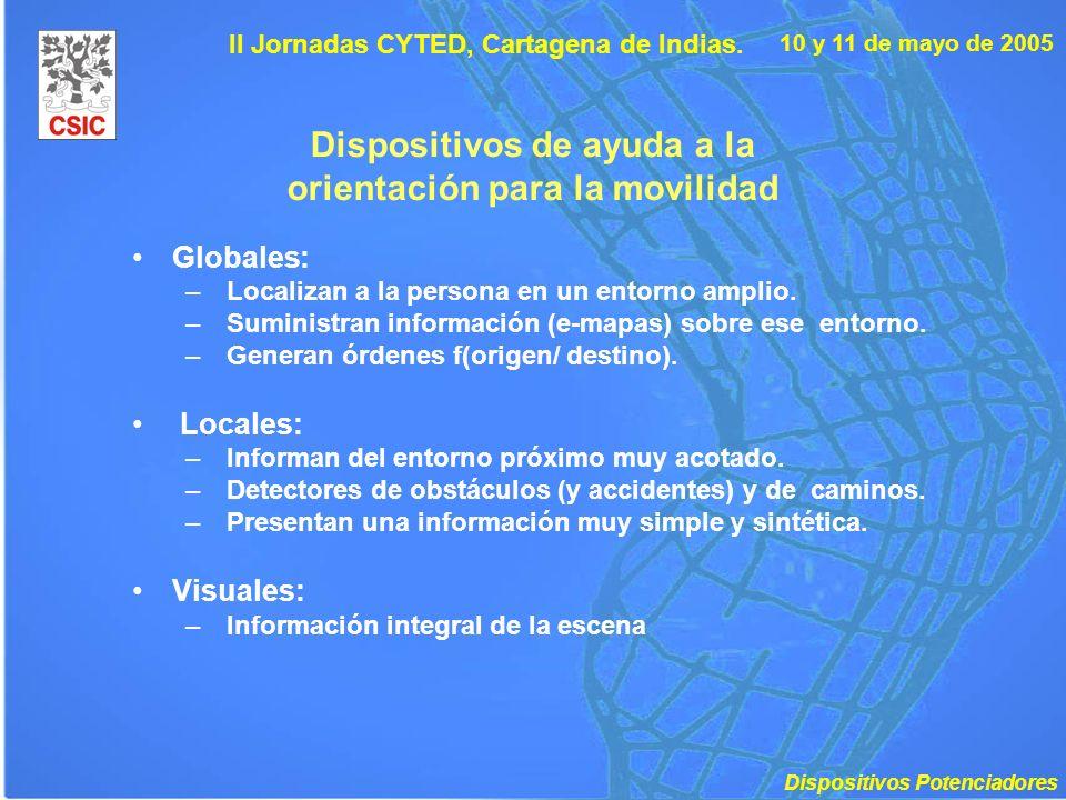 10 y 11 de mayo de 2005 II Jornadas CYTED, Cartagena de Indias. Dispositivos de ayuda a la orientación para la movilidad Globales: – Localizan a la pe