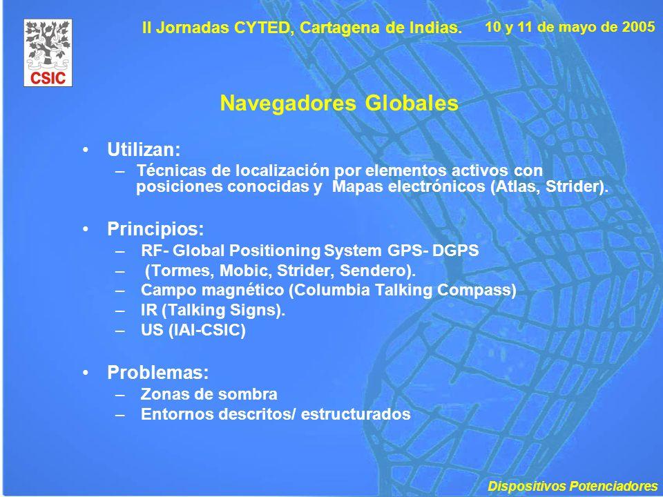 10 y 11 de mayo de 2005 II Jornadas CYTED, Cartagena de Indias. Navegadores Globales Utilizan: –Técnicas de localización por elementos activos con pos