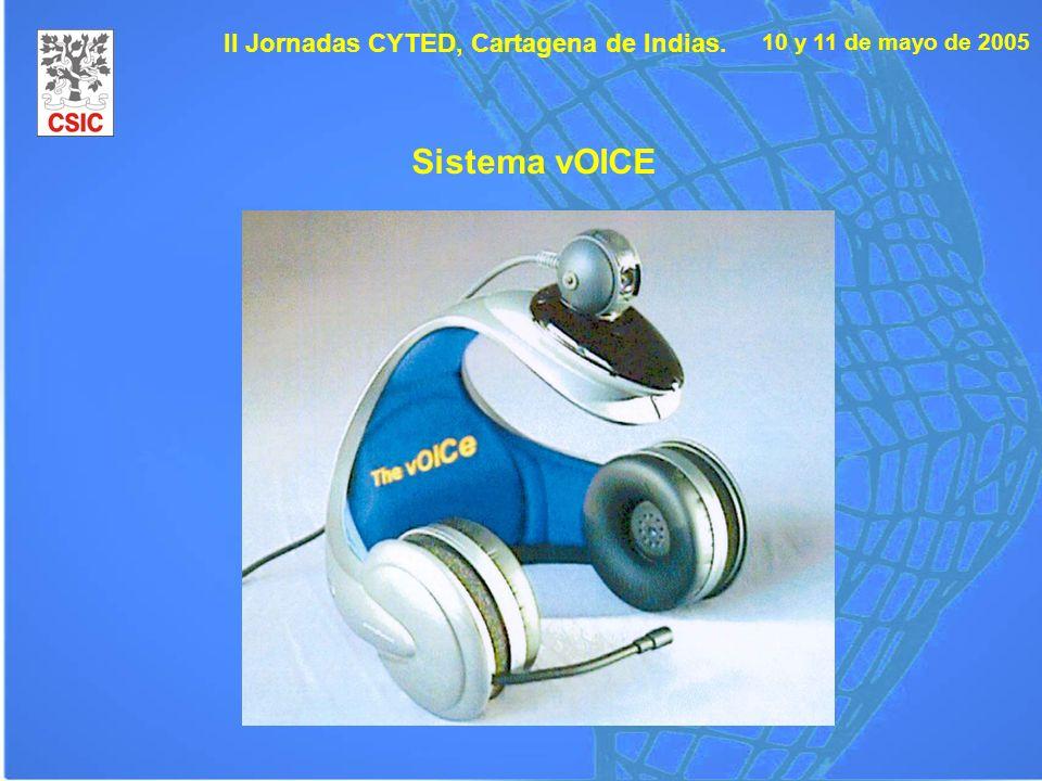 10 y 11 de mayo de 2005 II Jornadas CYTED, Cartagena de Indias. Sistema vOICE