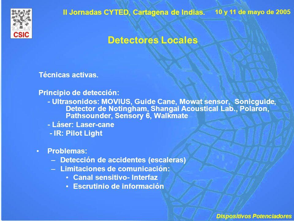 10 y 11 de mayo de 2005 II Jornadas CYTED, Cartagena de Indias. Detectores Locales Técnicas activas. Principio de detección: - Ultrasonidos: MOVIUS, G