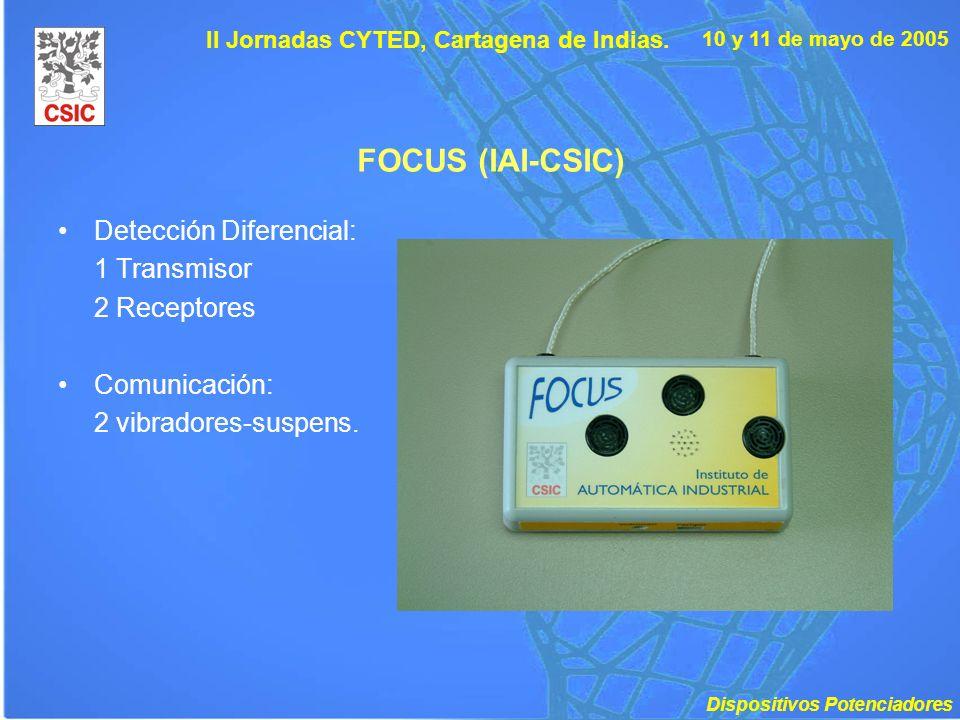 10 y 11 de mayo de 2005 II Jornadas CYTED, Cartagena de Indias. FOCUS (IAI-CSIC) Detección Diferencial: 1 Transmisor 2 Receptores Comunicación: 2 vibr