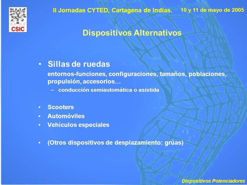 10 y 11 de mayo de 2005 II Jornadas CYTED, Cartagena de Indias. Dispositivos Alternativos Sillas de ruedas entornos-funciones, configuraciones, tamaño