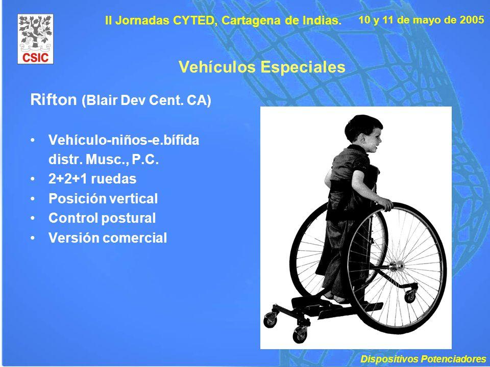 10 y 11 de mayo de 2005 II Jornadas CYTED, Cartagena de Indias. Vehículos Especiales Rifton (Blair Dev Cent. CA) Vehículo-niños-e.bífida distr. Musc.,