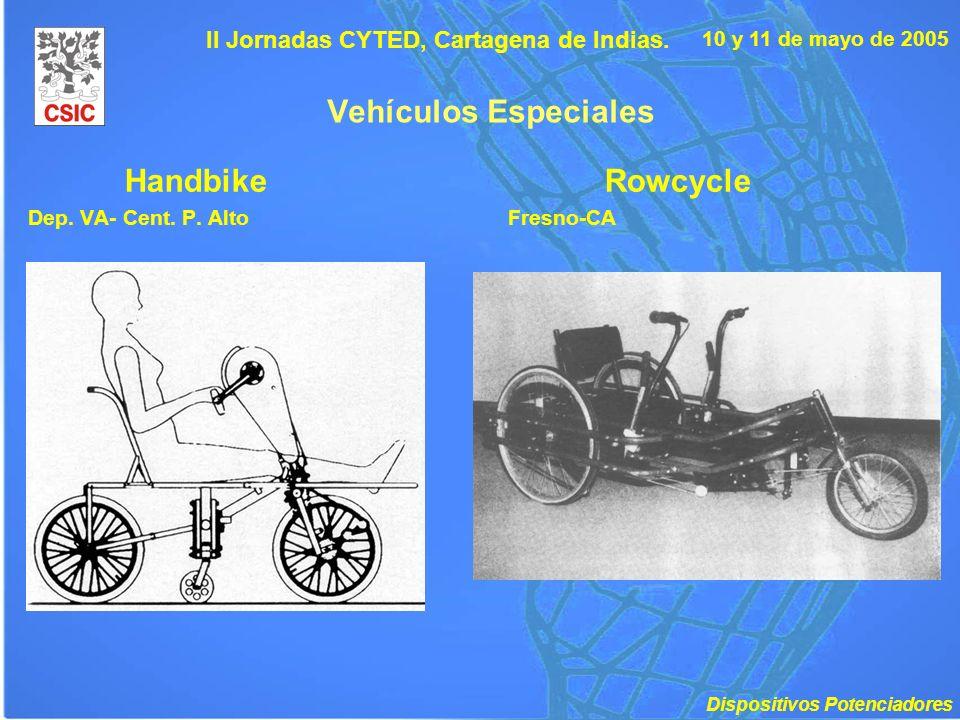 10 y 11 de mayo de 2005 II Jornadas CYTED, Cartagena de Indias. Vehículos Especiales HandbikeRowcycle Dep. VA- Cent. P. AltoFresno-CA Dispositivos Pot