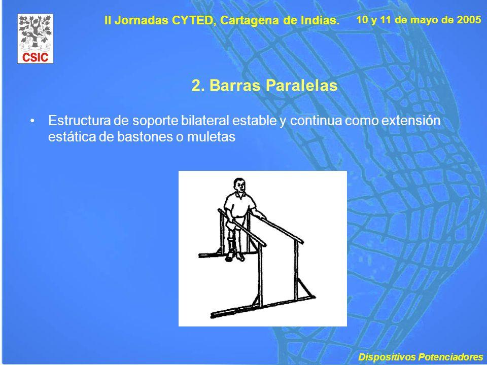 10 y 11 de mayo de 2005 II Jornadas CYTED, Cartagena de Indias. 2. Barras Paralelas Estructura de soporte bilateral estable y continua como extensión