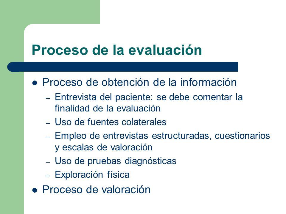 Proceso de la evaluación Proceso de obtención de la información – Entrevista del paciente: se debe comentar la finalidad de la evaluación – Uso de fue