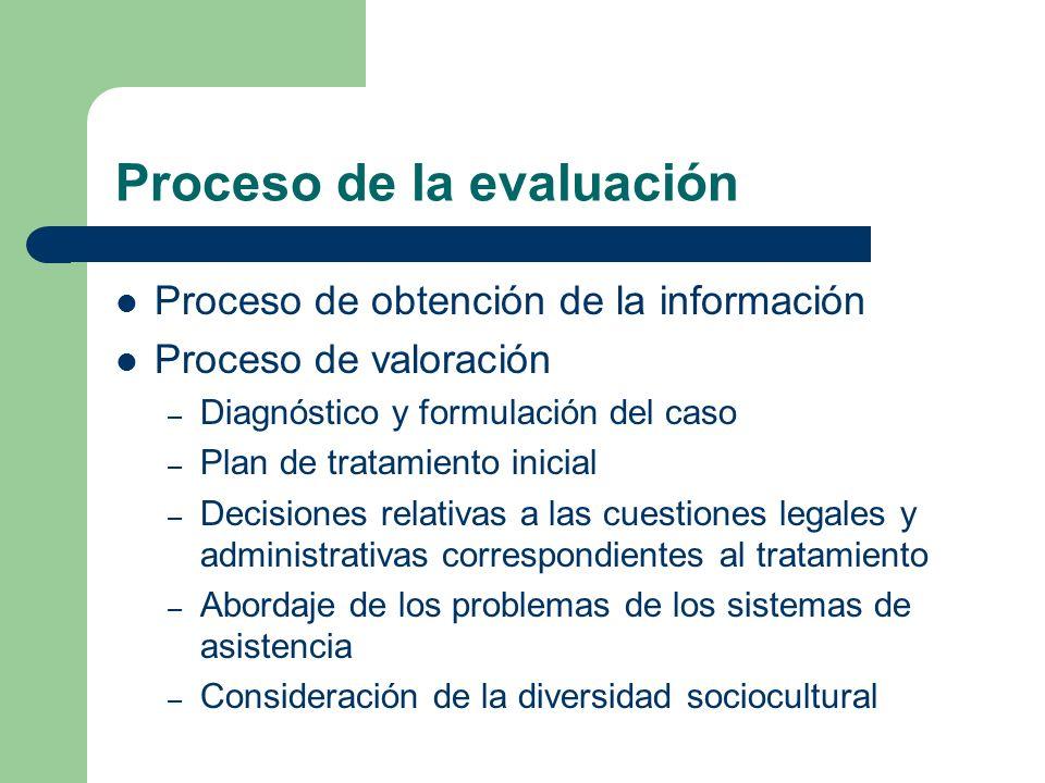 Proceso de la evaluación Proceso de obtención de la información Proceso de valoración – Diagnóstico y formulación del caso – Plan de tratamiento inici
