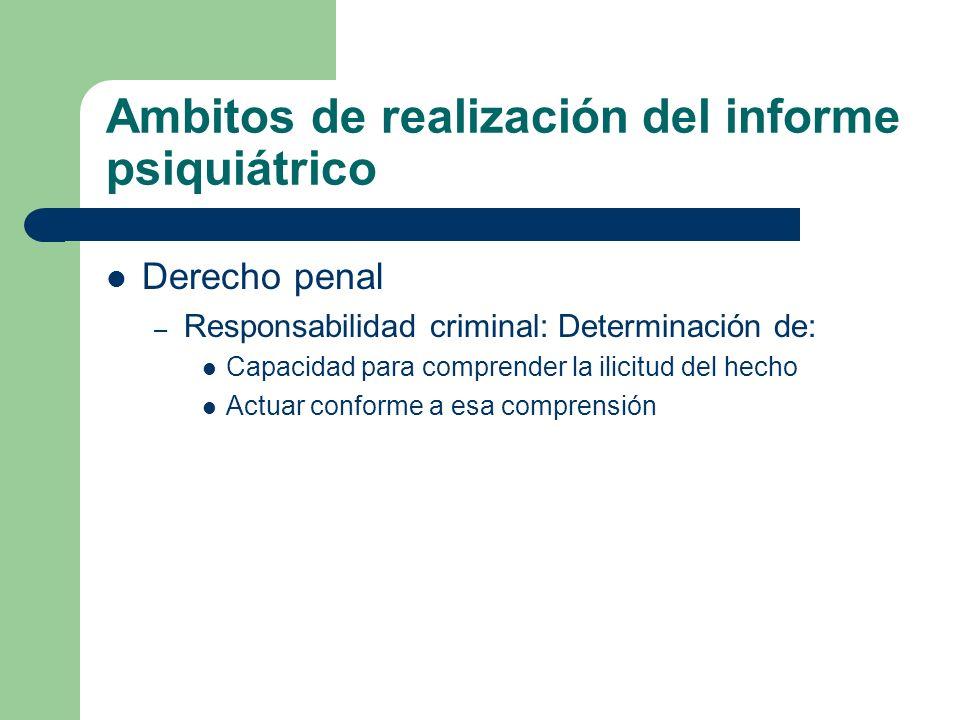 Ambitos de realización del informe psiquiátrico Derecho penal – Responsabilidad criminal: Determinación de: Capacidad para comprender la ilicitud del