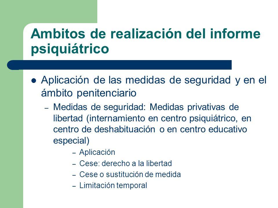 Ambitos de realización del informe psiquiátrico Aplicación de las medidas de seguridad y en el ámbito penitenciario – Medidas de seguridad: Medidas pr