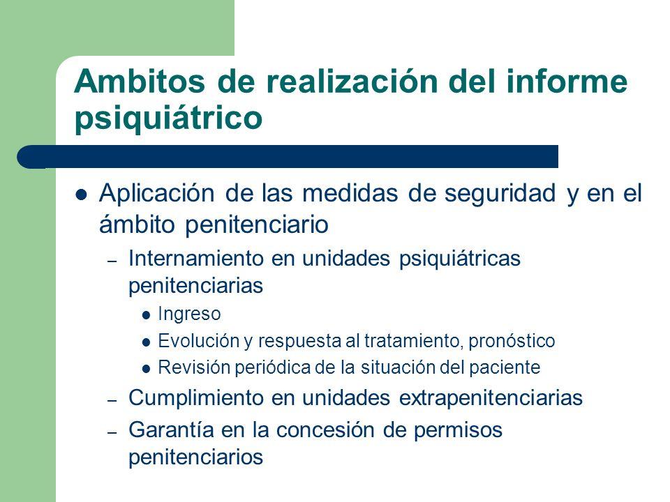 Ambitos de realización del informe psiquiátrico Aplicación de las medidas de seguridad y en el ámbito penitenciario – Internamiento en unidades psiqui