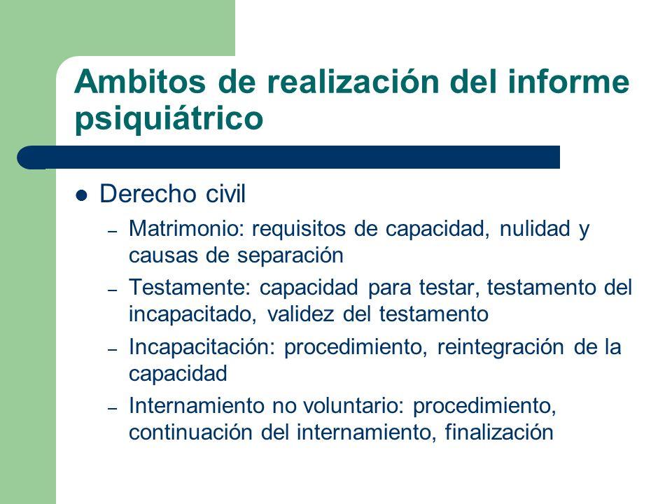 Ambitos de realización del informe psiquiátrico Derecho civil – Matrimonio: requisitos de capacidad, nulidad y causas de separación – Testamente: capa