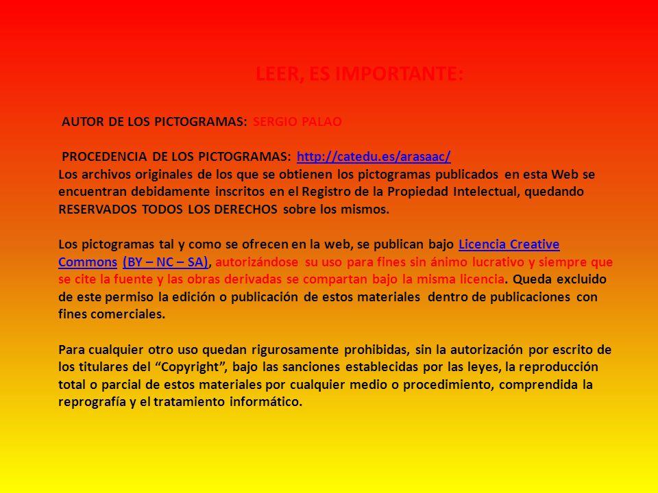 LEER, ES IMPORTANTE: AUTOR DE LOS PICTOGRAMAS: SERGIO PALAO PROCEDENCIA DE LOS PICTOGRAMAS: http://catedu.es/arasaac/http://catedu.es/arasaac/ Los arc
