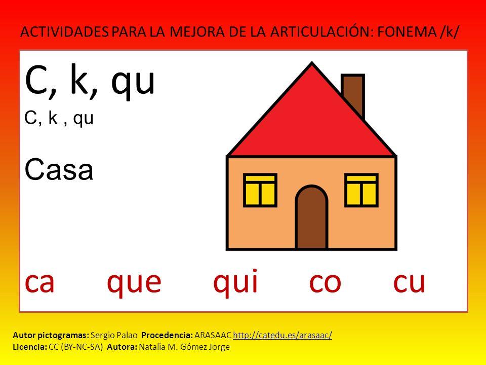 ACTIVIDADES PARA LA MEJORA DE LA ARTICULACIÓN: FONEMA /k/ Autor pictogramas: Sergio Palao Procedencia: ARASAAC http://catedu.es/arasaac/http://catedu.