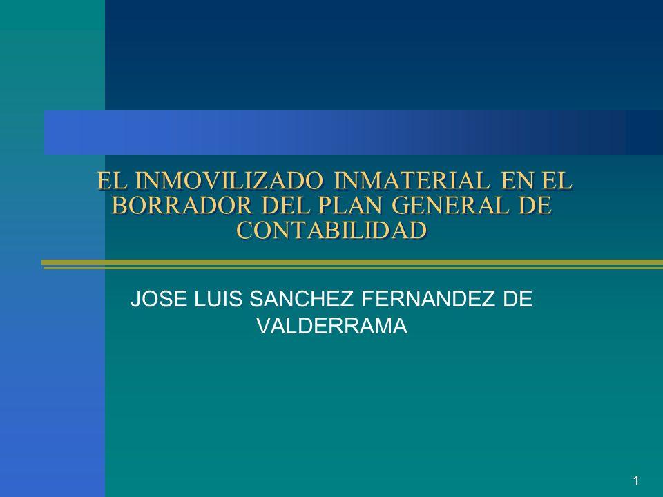 1 EL INMOVILIZADO INMATERIAL EN EL BORRADOR DEL PLAN GENERAL DE CONTABILIDAD JOSE LUIS SANCHEZ FERNANDEZ DE VALDERRAMA