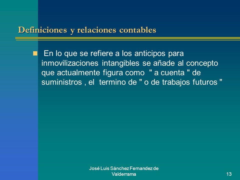 José Luis Sánchez Fernandez de Valderrama13 Definiciones y relaciones contables En lo que se refiere a los anticipos para inmovilizaciones intangibles