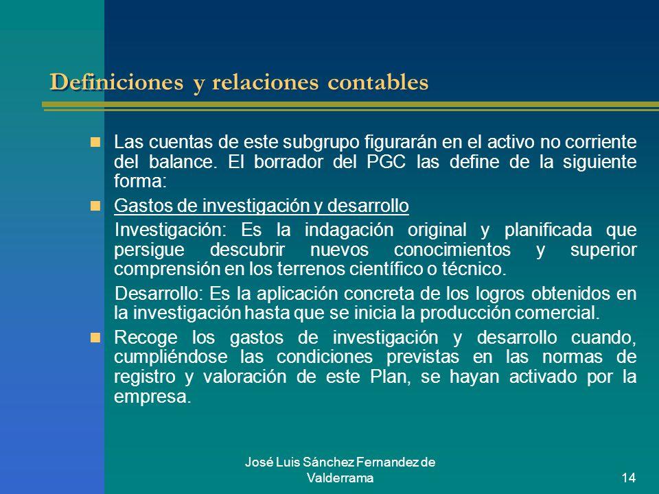 José Luis Sánchez Fernandez de Valderrama14 Definiciones y relaciones contables Las cuentas de este subgrupo figurarán en el activo no corriente del b