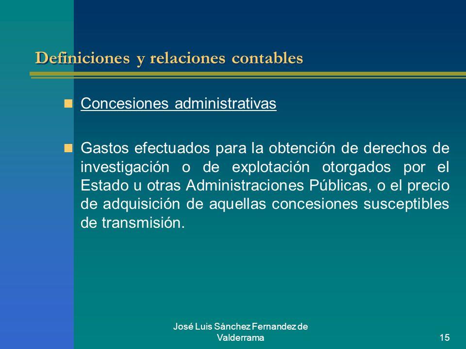 José Luis Sánchez Fernandez de Valderrama15 Definiciones y relaciones contables Concesiones administrativas Gastos efectuados para la obtención de der