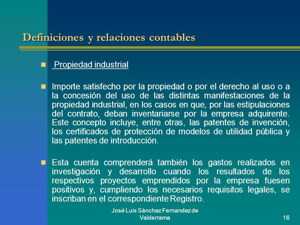 José Luis Sánchez Fernandez de Valderrama16 Definiciones y relaciones contables Propiedad industrial Importe satisfecho por la propiedad o por el dere