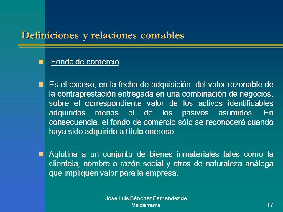 José Luis Sánchez Fernandez de Valderrama17 Definiciones y relaciones contables Fondo de comercio Es el exceso, en la fecha de adquisición, del valor