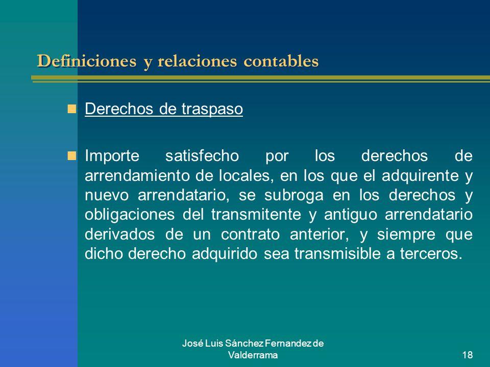 José Luis Sánchez Fernandez de Valderrama18 Definiciones y relaciones contables Derechos de traspaso Importe satisfecho por los derechos de arrendamie