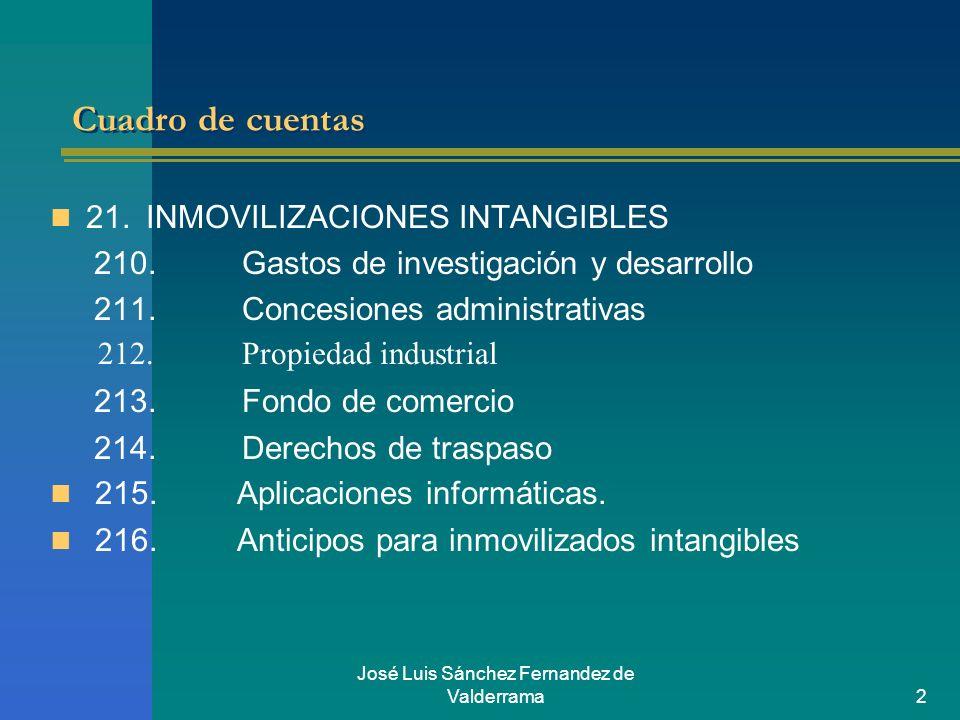 José Luis Sánchez Fernandez de Valderrama2 Cuadro de cuentas 21.INMOVILIZACIONES INTANGIBLES 210.Gastos de investigación y desarrollo 211.Concesiones