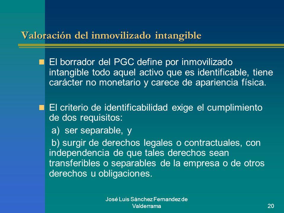 José Luis Sánchez Fernandez de Valderrama20 Valoración del inmovilizado intangible El borrador del PGC define por inmovilizado intangible todo aquel a