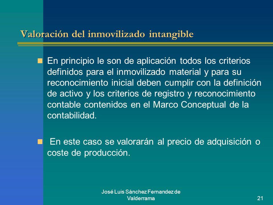 José Luis Sánchez Fernandez de Valderrama21 Valoración del inmovilizado intangible En principio le son de aplicación todos los criterios definidos par