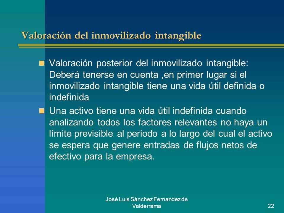José Luis Sánchez Fernandez de Valderrama22 Valoración del inmovilizado intangible Valoración posterior del inmovilizado intangible: Deberá tenerse en