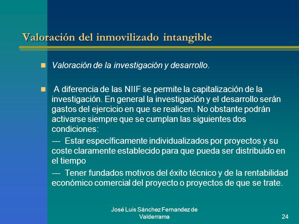 José Luis Sánchez Fernandez de Valderrama24 Valoración del inmovilizado intangible Valoración de la investigación y desarrollo. A diferencia de las NI