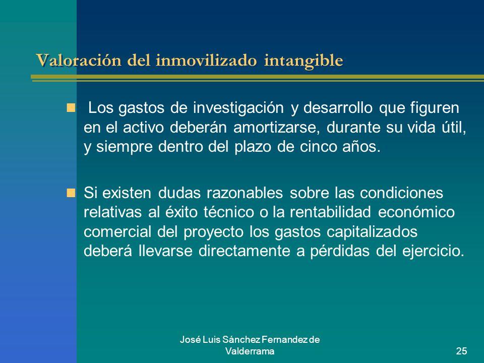 José Luis Sánchez Fernandez de Valderrama25 Valoración del inmovilizado intangible Los gastos de investigación y desarrollo que figuren en el activo d
