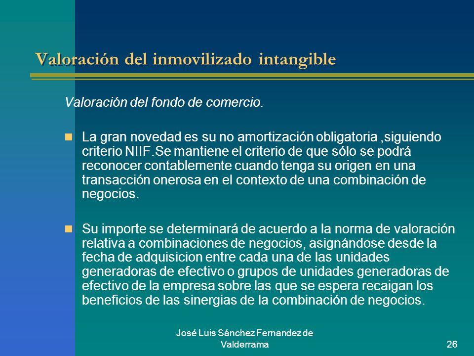 José Luis Sánchez Fernandez de Valderrama26 Valoración del inmovilizado intangible Valoración del fondo de comercio. La gran novedad es su no amortiza
