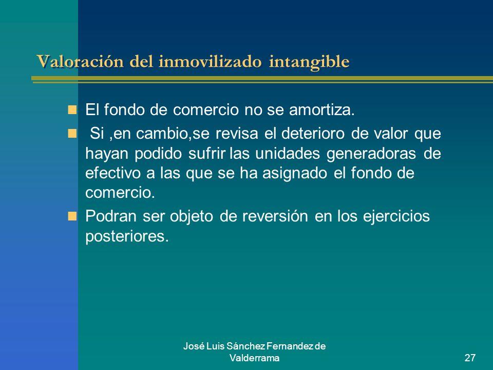 José Luis Sánchez Fernandez de Valderrama27 Valoración del inmovilizado intangible El fondo de comercio no se amortiza. Si,en cambio,se revisa el dete