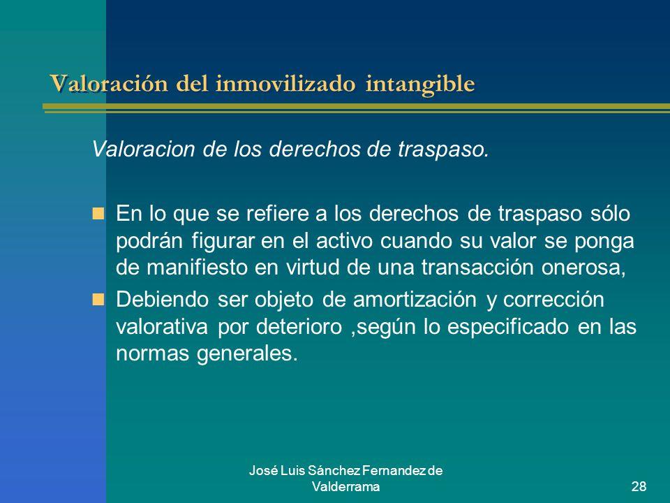 José Luis Sánchez Fernandez de Valderrama28 Valoración del inmovilizado intangible Valoracion de los derechos de traspaso. En lo que se refiere a los