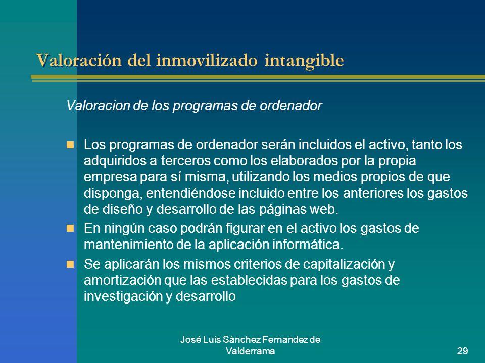 José Luis Sánchez Fernandez de Valderrama29 Valoración del inmovilizado intangible Valoracion de los programas de ordenador Los programas de ordenador