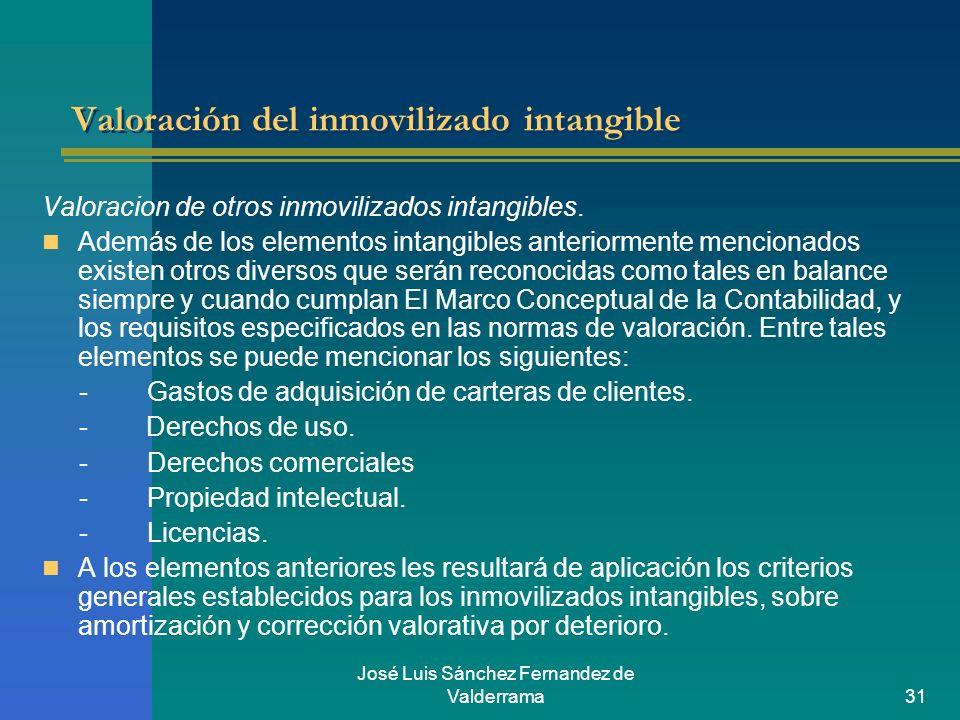 José Luis Sánchez Fernandez de Valderrama31 Valoración del inmovilizado intangible Valoracion de otros inmovilizados intangibles. Además de los elemen