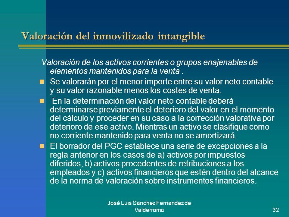 José Luis Sánchez Fernandez de Valderrama32 Valoración del inmovilizado intangible Valoración de los activos corrientes o grupos enajenables de elemen
