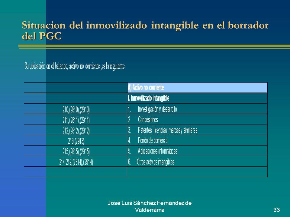 José Luis Sánchez Fernandez de Valderrama33 Situacion del inmovilizado intangible en el borrador del PGC
