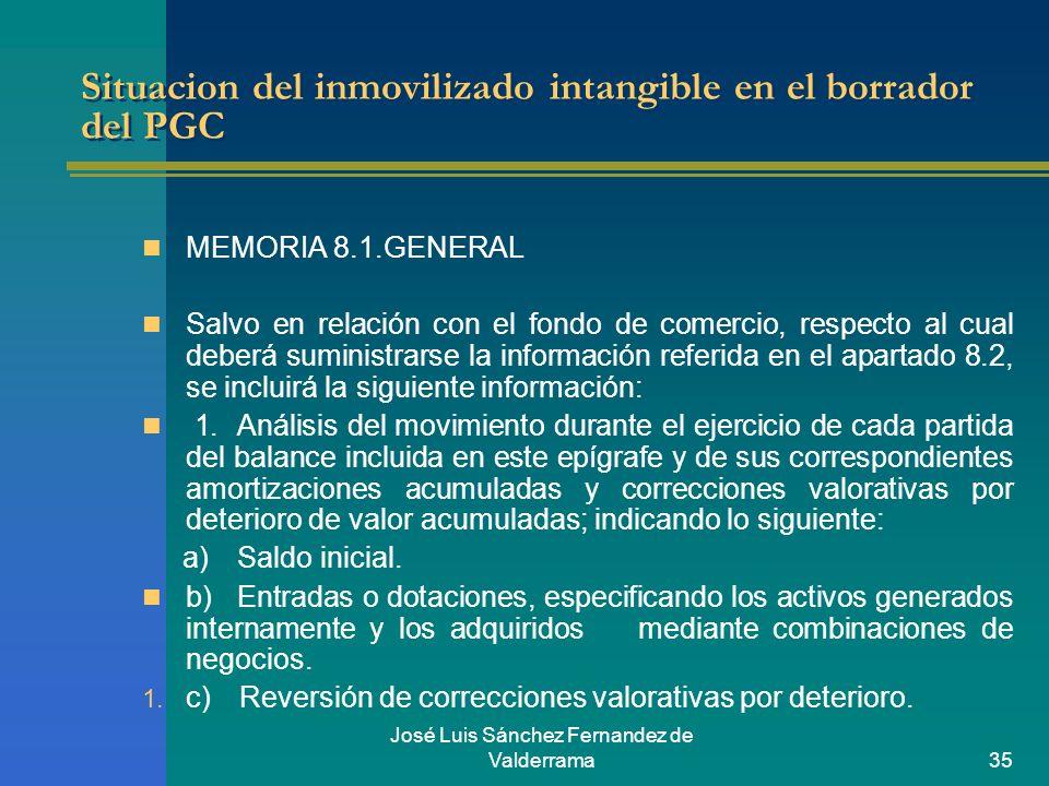 José Luis Sánchez Fernandez de Valderrama35 Situacion del inmovilizado intangible en el borrador del PGC MEMORIA 8.1.GENERAL Salvo en relación con el