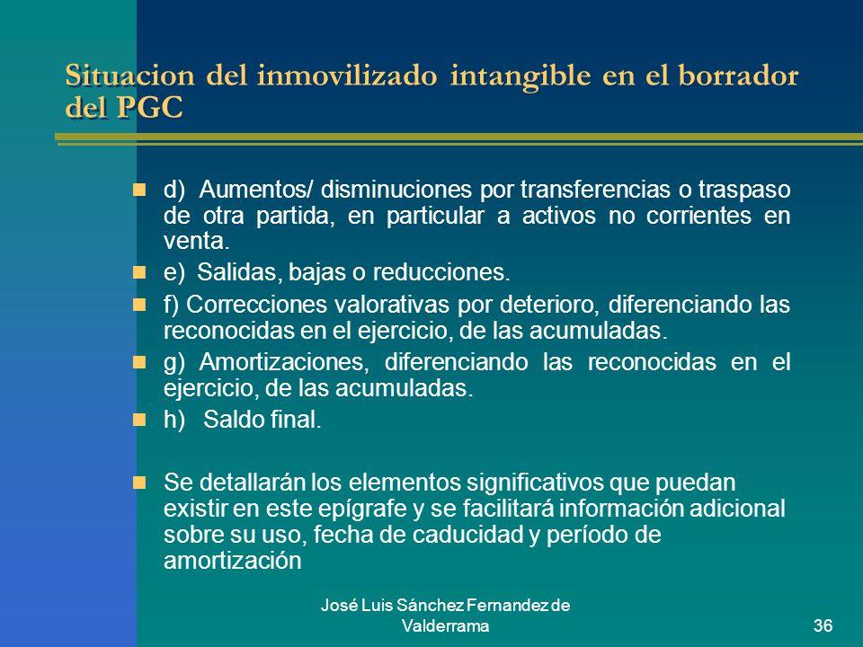 José Luis Sánchez Fernandez de Valderrama36 Situacion del inmovilizado intangible en el borrador del PGC d) Aumentos/ disminuciones por transferencias