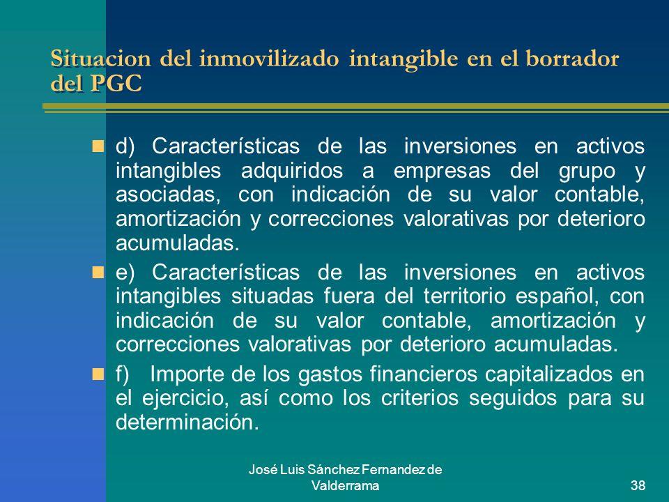 José Luis Sánchez Fernandez de Valderrama38 Situacion del inmovilizado intangible en el borrador del PGC d) Características de las inversiones en acti