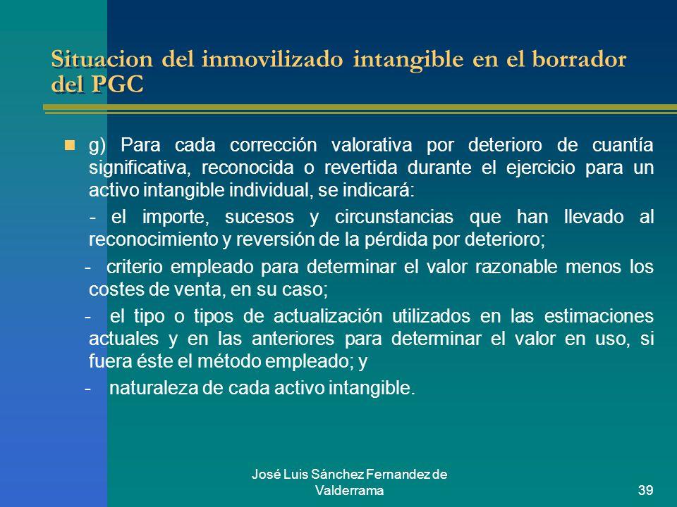José Luis Sánchez Fernandez de Valderrama39 Situacion del inmovilizado intangible en el borrador del PGC g) Para cada corrección valorativa por deteri