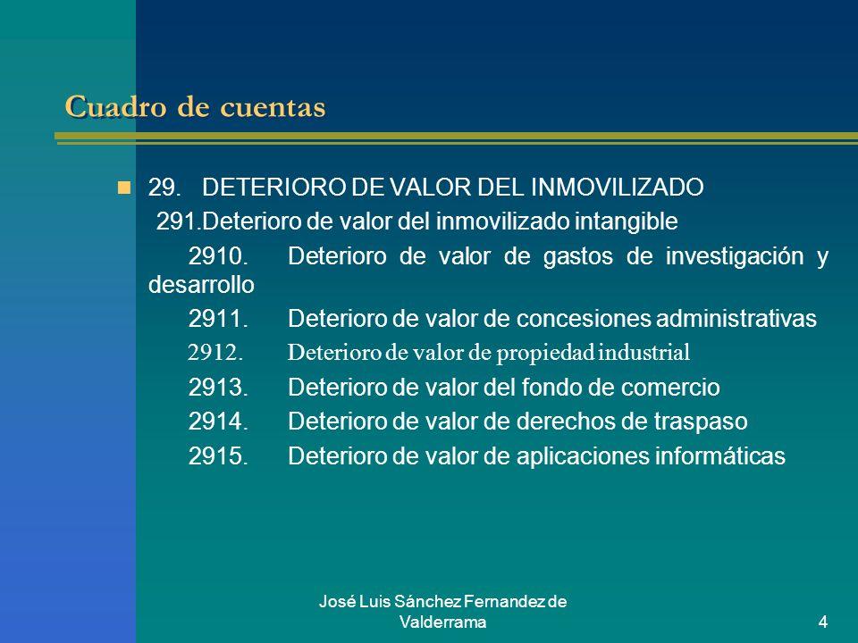 José Luis Sánchez Fernandez de Valderrama4 Cuadro de cuentas 29.DETERIORO DE VALOR DEL INMOVILIZADO 291.Deterioro de valor del inmovilizado intangible