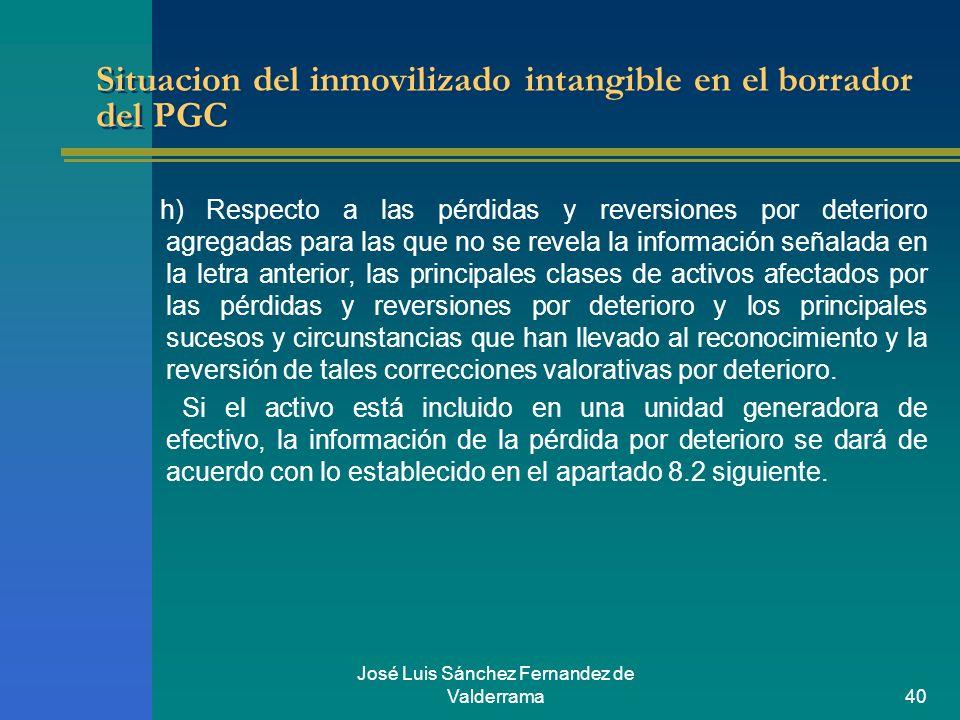 José Luis Sánchez Fernandez de Valderrama40 Situacion del inmovilizado intangible en el borrador del PGC h) Respecto a las pérdidas y reversiones por