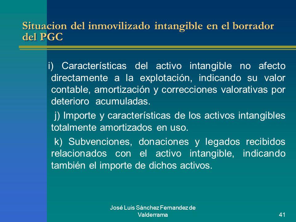 José Luis Sánchez Fernandez de Valderrama41 Situacion del inmovilizado intangible en el borrador del PGC i) Características del activo intangible no a