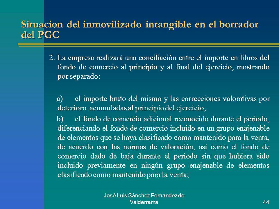 José Luis Sánchez Fernandez de Valderrama44 Situacion del inmovilizado intangible en el borrador del PGC 2. La empresa realizará una conciliación entr